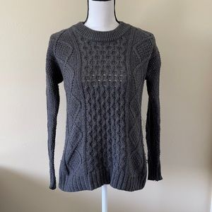 Madewell Cable Knit Wool Sweater in Gray